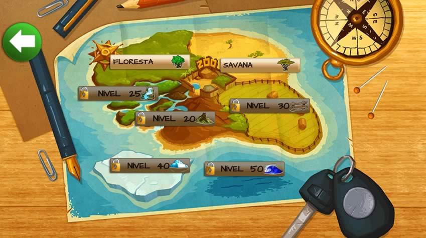 Mapa de acesso para ambientes em Wonder Zoo