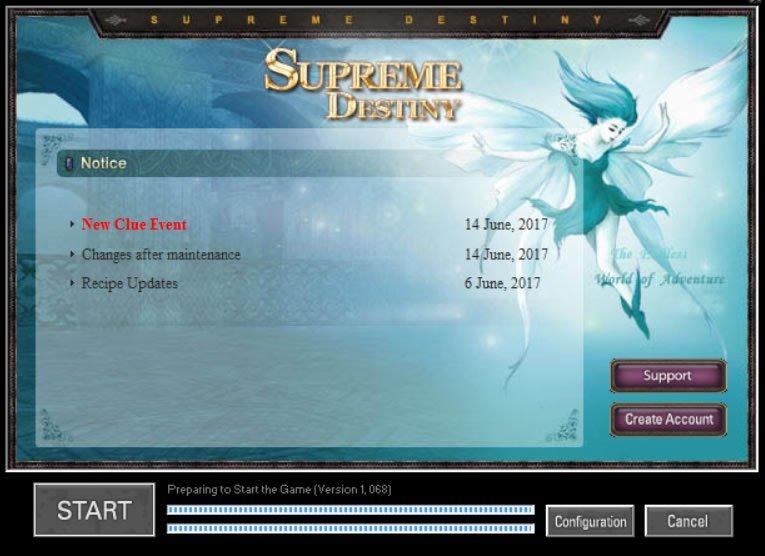Iniciando o jogo WYD Supreme Destiny