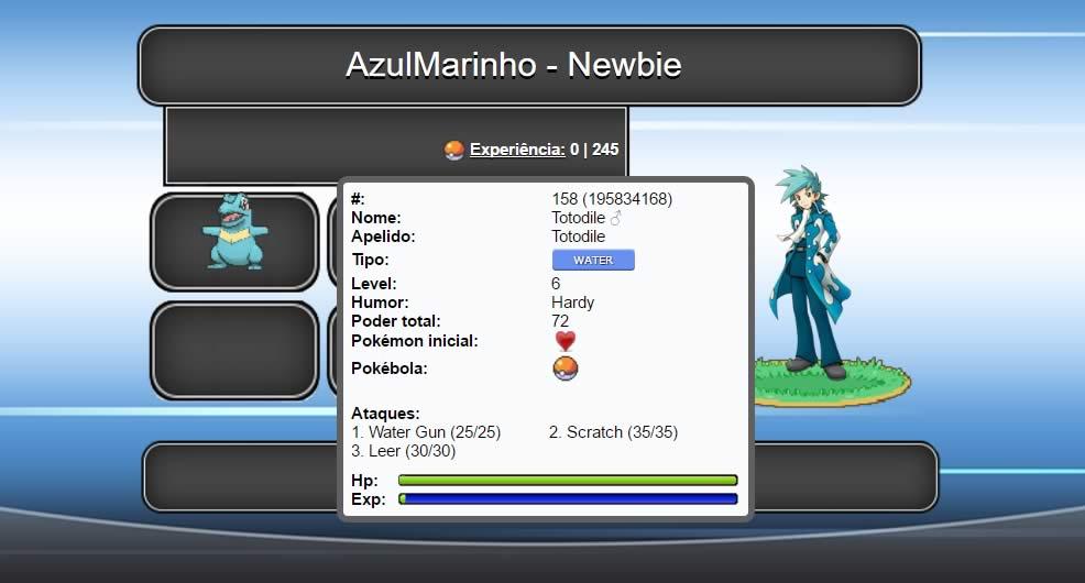 Menu principal do jogo Pokémon Age