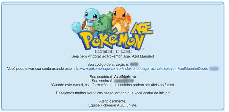 Tela de ativação de conta no Pokémon Age