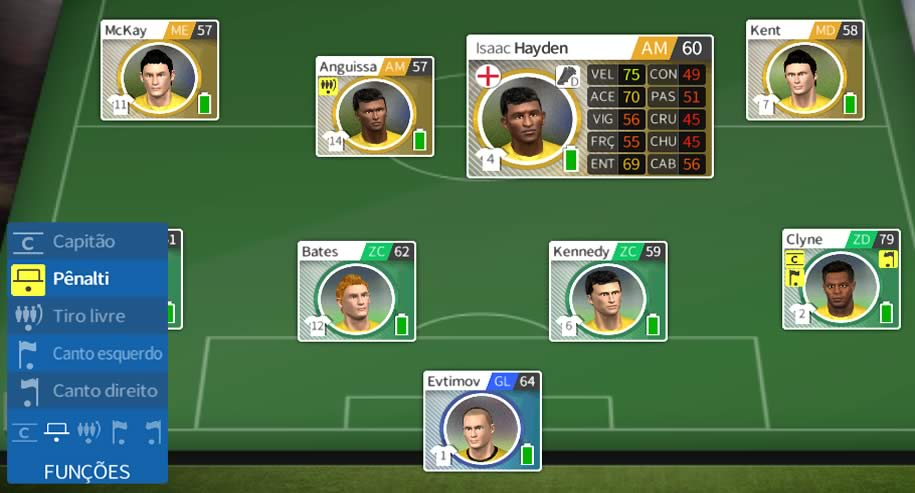Mudando a função de cada jogador em dream league soccer