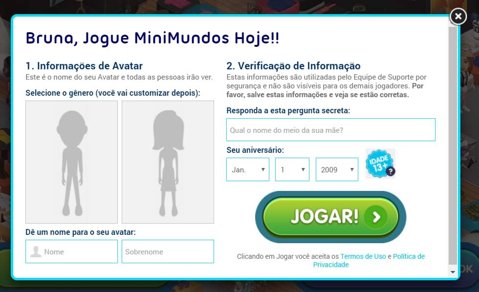 Nomeando o avatar no MiniMundo
