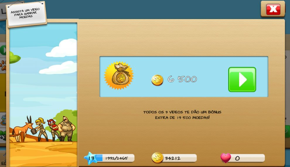Assista video para ganhar moeda no Wonder Zoo