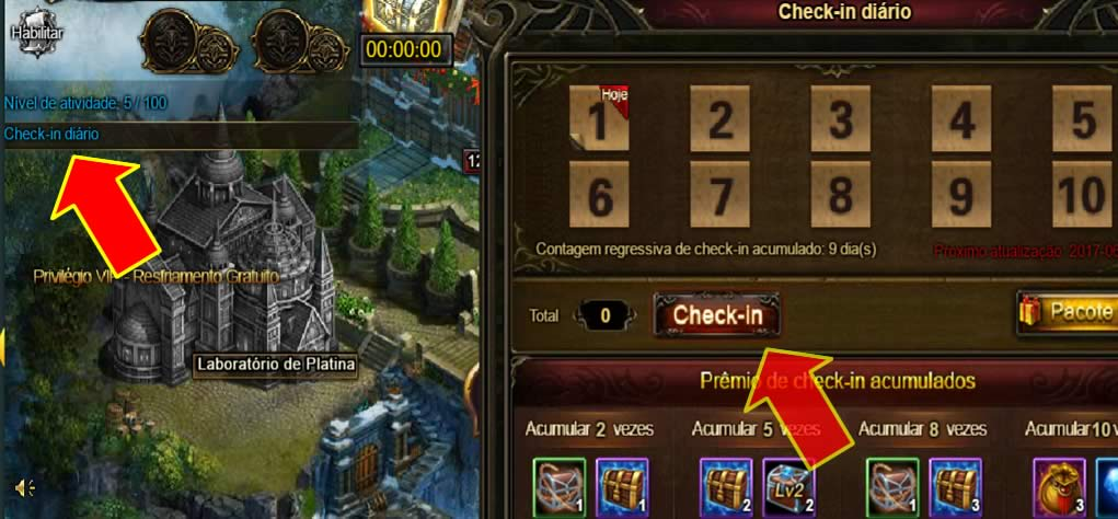 Check in diário de Legend Online
