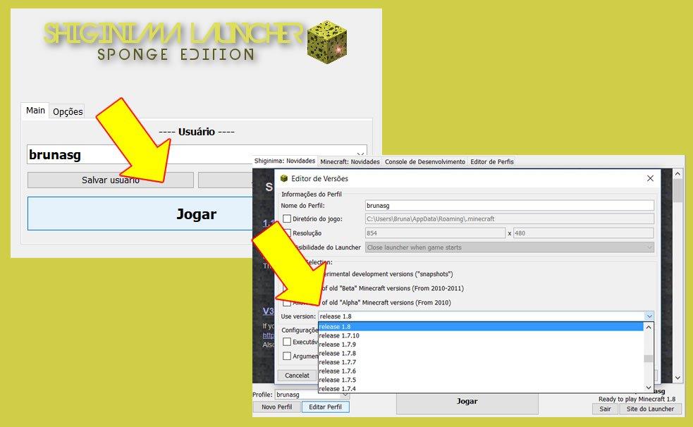 Configurando o Shiginima para jogar Minecraft online