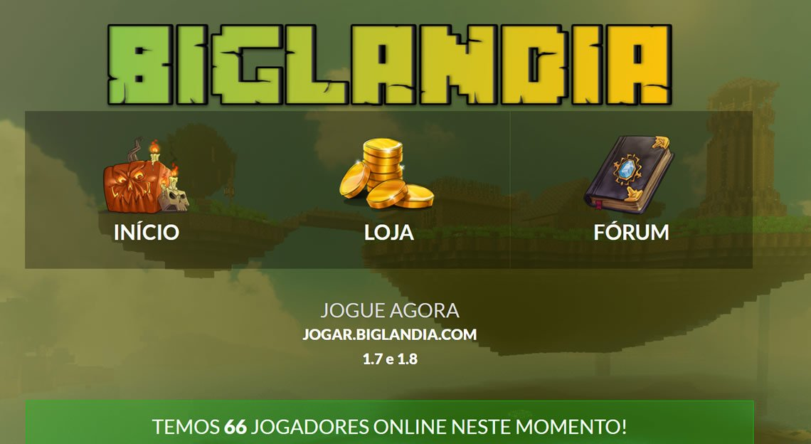 Site do servidor pirata de minecraft Biglandia