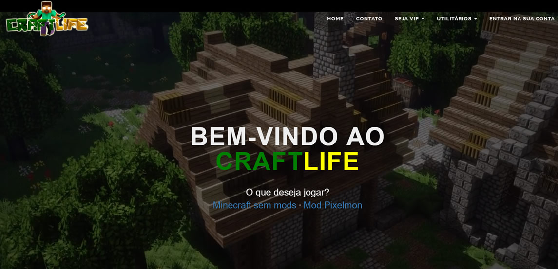 Site do servidor pirata de minecraft CraftLife