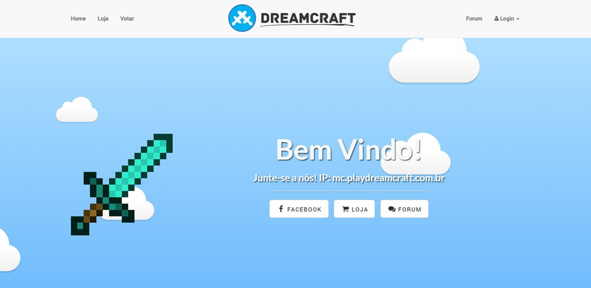 Site do servidor pirata de minecraft Dreamcraft