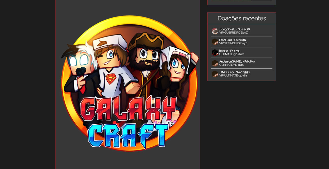 Site do servidor pirata de minecraft GalaxyCraft