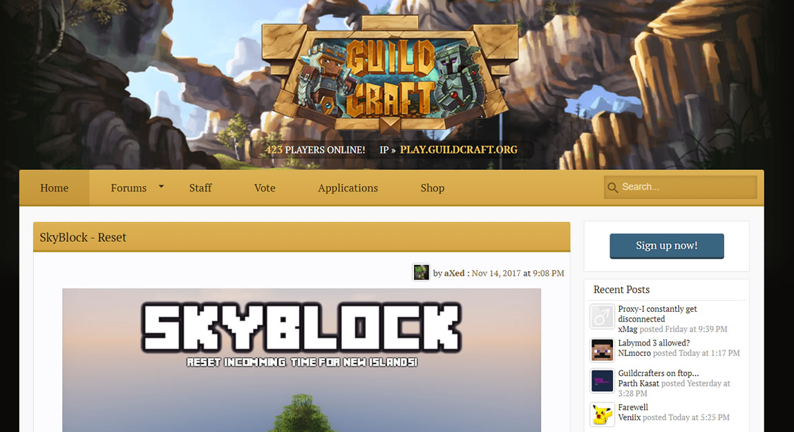 Site do servidor pirata de minecraft GuildCraft