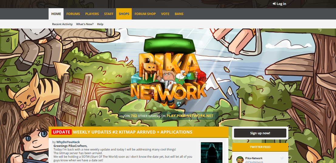Site do servidor pirata de minecraft Pika Network