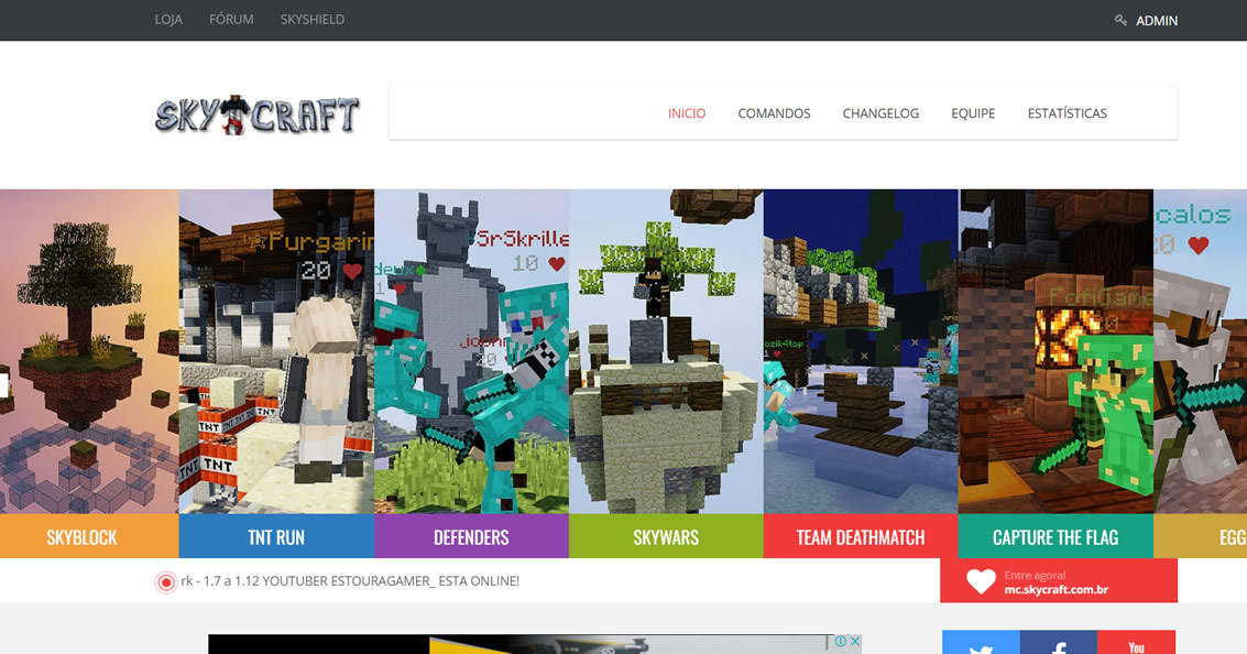 Site do servidor pirata de minecraft SkyCraft