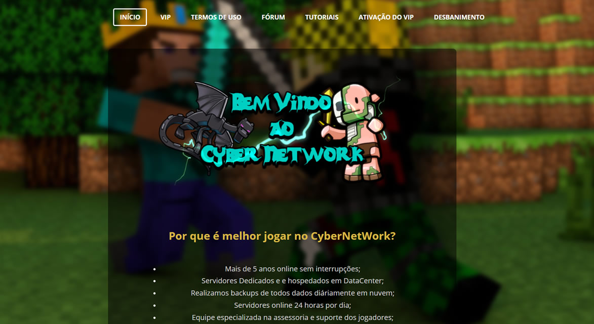 Site oficial do Cyber Network servidor de Minecraft Pirata