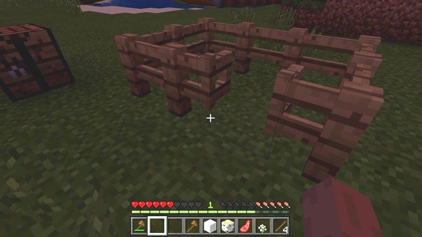 Pequena cerca com portão em Minecraft