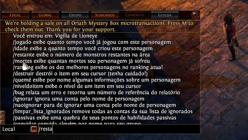 Path of Exile Brasil comandos do chat