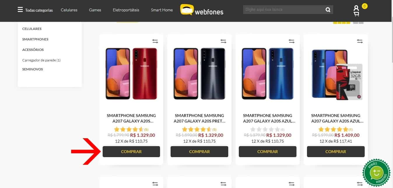 webfones como comprar na loja 2