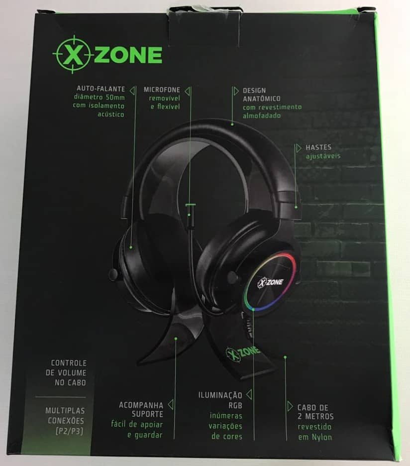 parte de trás da caixa do headset gamer xzone