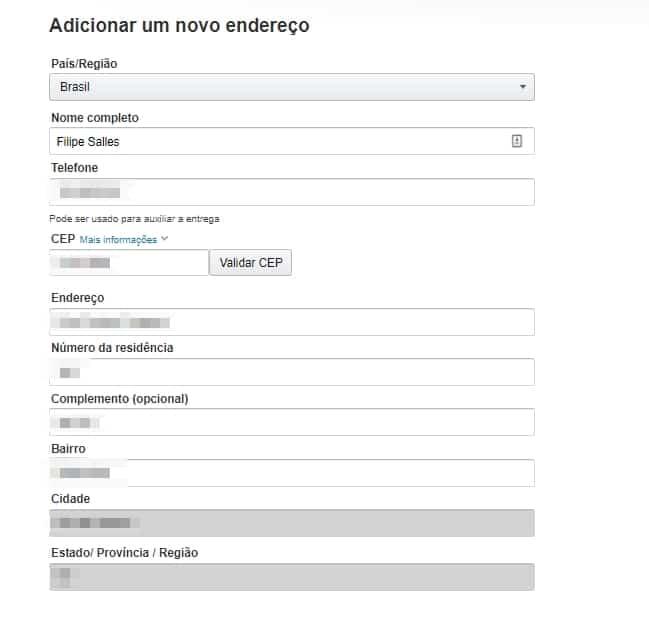 amazon é confiável - preencha o formulário de endereço para a entrega