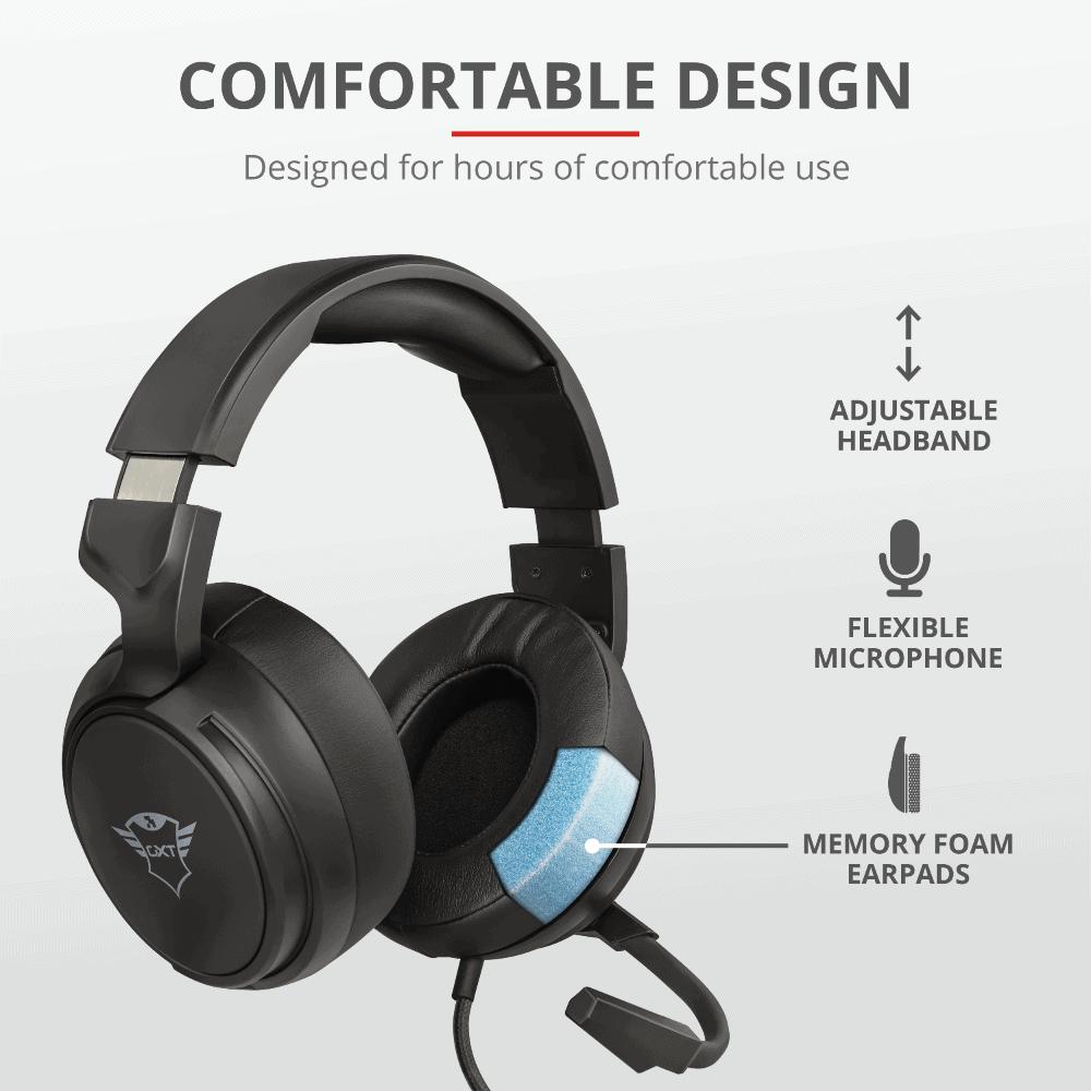 headset gamer trust gxt 433 pylo tem um design simples e funcional