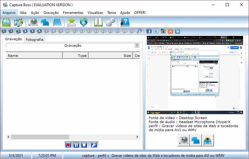 Interface gravar tela do PC